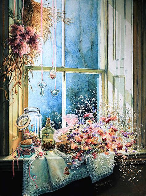 Still Life Painting Of Objects On A Windowsill