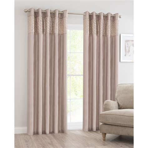 B&M Luxor Sequin Top Border Thermal Eyelet Curtain 66 x 72
