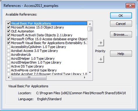 MS Access 2013: How to activate the built-in VBA functions
