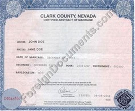 Translation of Marriage Certificate/License Nevada and