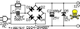 12V DC Power Supply without Transformer - Power Supply